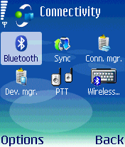 Nokia N72:n Connectivity-valikko